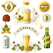 picture of hop-plant  - Set of bright beer emblems - JPG