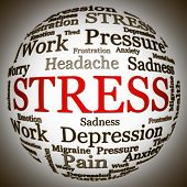 Stress related text arrangement (word cloud) with spherical form and the word STRESS in red uppercas