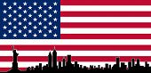 USA Colour Flag New York City Vector Skyline