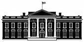 Casa branca Washington DC silhueta de ilustração vetorial preto