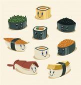 Постер, плакат: Смешные суши персонажи