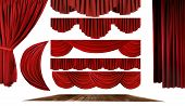 stock photo of swag  - Dramatic red old fashioned elegant theater stage elements of swags to make your own background - JPG
