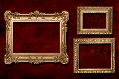 3 Gold Frames Against A Grunge Background