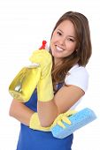 stock photo of maids  - A cute woman maid cleaner with sponge and spray - JPG