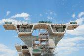 stock photo of trestle bridge  - fragment view of the road under reconstruction - JPG