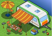 Roulotte isométrica en Camping al frente vista