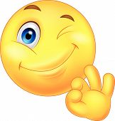 Smiley emoticon cartoon with ok sign