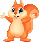 pic of waving hands  - Vector illustration of Squirrel cartoon waving hand - JPG