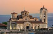 view of Saint Panteleimon Church at twilight in Old Ohrid, Republic of Macedonia
