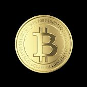 stock photo of open-source  - Golden Bitcoin coin  - JPG