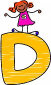 foto of letter d  - little girl climbing on letter d  - JPG
