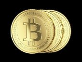 foto of bit coin  - Golden Bitcoin coin  - JPG