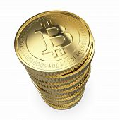 Golden Bitcoins on white