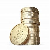 golden bitcoin stack on white