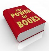 A red book cover with the title words The Power of Books to illustrate the importance of reading and