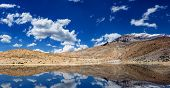 Mountain lake in Himalayas with reflection panorama. Dhankar, Spiti valley, Himachal Pradesh, India