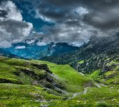 Mountain landscape in Himalayas. Kullu valley, Himachal Pradesh, India
