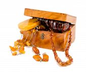 Amber Stone Apparel Jewelry Vintage Box On White
