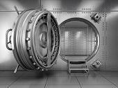 stock photo of vault  - Open Bank Vault Door - JPG