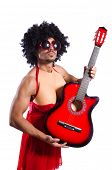 picture of transexual  - Man in woman clothing with guitar - JPG
