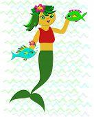 picture of playmates  - Here is a cute Mermaid enjoying her marine playmates - JPG