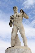 image of mussolini  - Statue of a wrestler in the Stadium of the Marbles in Rome - JPG