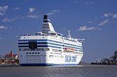 Helsinki,Finland-April 20:the Silja Line ferry sails  from port of Helsinki on April 20, 2013.