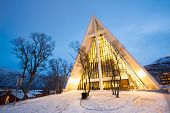 stock photo of tromso  - Tromso Arctic Cathedral Church in Norway at dusk twilight - JPG