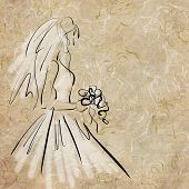 art sketching beautiful melancholic young  bride with the bride's bouquet and in white dress
