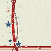 US american flag themed background, or card with wavy lines and stars in red and blue forming a patr