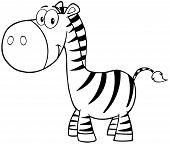Outlined Zebra Cartoon Mascot Character