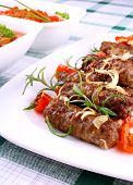 Grilled Meat Rolls With Giant White Beans And Sauce