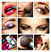 Make-up-Collage. Professionelles Make-up Informationen. Makeover