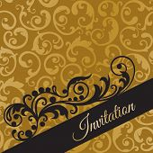 Luxury black and gold invitation with seamless swirls wallpaper background. This image is a vector illustration.