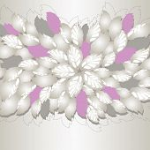 Silver and pink flowers and leaves book cover or greeting card. This image is a vector illustration.