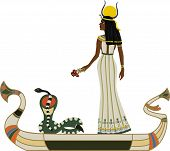 Egyptian God with snake on boat