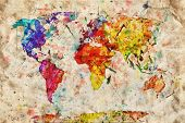foto of continent  - Vintage world map - JPG