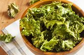 picture of kale  - Homemade Organic Green Kale Chips with salt and oil - JPG