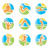 Colorfull icons yoga fitness