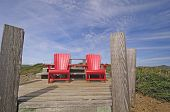 Red Chairs On A Mountain Top Lookout