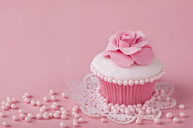 picture of sugarpaste  - Cupcake with pink flowers on a stand - JPG