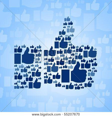 Like symbol on blue background poster