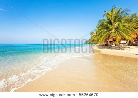 Beautiful tropical beach with  sea view, clean water & blue sky. Nature background poster