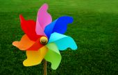Colorful Pinwheel On Grass