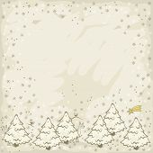 Little birds and reindeer in white forrest bottom winter holidays christmas illustration