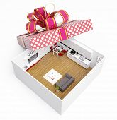luxury modern apartment in gift box. creative concept