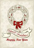 monochrome holly leaves wreath with red bow Christmas New Year winter holidays card with wishes