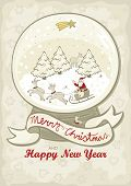 image of centerpiece  - Beautiful sparkling snow globe with Santa Claus sleigh with reindeer christmas trees and gold star on night sky vintage colors centerpiece illustration on seasonal card with wishes in english - JPG