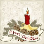 red candle in gold candlestick winter holidays Christmas New Year illustration