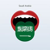 Saudi Arabia language. Abstract human tongue.
